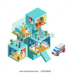 Hospital building with people flat 3d web isometric infographic concept vector. Exterior and interior isometry rooms with people staff workers, doctors, nurses, ambulance. Creative people collection.