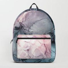 Blush and Paynes Gray Flowing Abstract Reflect Backpack by elizabethschulz Cute Mini Backpacks, Little Backpacks, Stylish Backpacks, Girl Backpacks, Mochila Dora, Mochila Jansport, Girls Bags, Girls School Bags, Back Bag