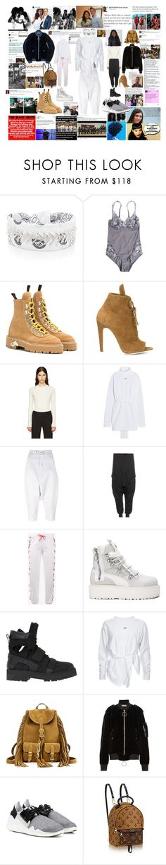 """""""OOTD: Relaxed While Woke"""" by momo-536 ❤ liked on Polyvore featuring Fallon, Christies, Off-White, MM6 Maison Margiela, Y-3, Filles à papa, Puma, Hood by Air, Yves Saint Laurent and BlackLivesMatter"""