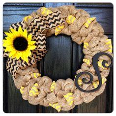 Chevron Burlap Wreath with Initial- Front Door Wreath- Wedding Gift- Monogram Wreath- Sunflower Wreath- Fall Wreath on Etsy, $60.00