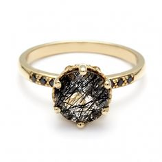 Anna Sheffield / Hazeline Solitaire Rutilated Quartz Ring / Fine Jewelry (USA + Online Shopping / Worldwide) / View more on The LANE: http://thelane.com/brands-we-love/anna-sheffield