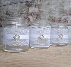 9 wedding jars small lace and pearl tealight vase Rustic hochzeit tisch 10 wedding jars small lace and pearl tealight vase Rustic vintage handmade baby shower glass centrepiece decor Baby Food Jar Crafts, Baby Food Jars, Mason Jar Crafts, Mason Jars, Wedding Jars, Wedding Glasses, Wedding Tables, Flowers In Jars, Glass Centerpieces