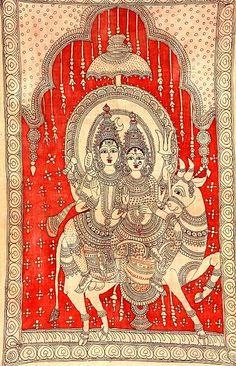 Indian Painting Styles...Kalamkari Paintings (Andhra Pradesh)-shivparvathi.jpg