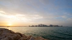 A view of the Doha skyline at sunset from the Museum of Islamic Art. Photo credit: James Duncan Davidson