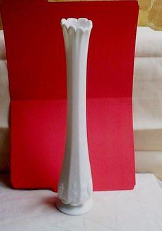 VTG  White Milk Glass Tall VASE Elegant Paneled Grapes Westmoreland