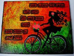 Scrapitydoodah-UK Mixed Media Canvas, Mixed Media Art, Art Journal Pages, Art Journaling, Bicycle Cards, Messy Art, Art Journal Tutorial, Mixed Media Scrapbooking, Art Journal Techniques
