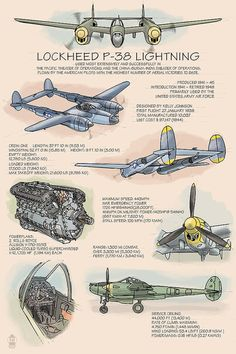 P-38 Lightning Technical (Art Prints available in multiple sizes)