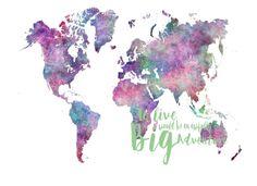 Mapa grande del mundo el arte mundial de la pared de por DaniJArts