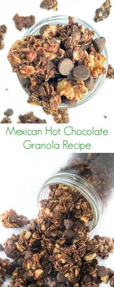 Mexican Hot Chocolate Granola Recipe - As easy, healthy and homemade granola! Mexican Hot Chocolate Granola Recipe - As easy, healthy and homemade granola! - The Lemon Bowl Breakfast Recipes, Snack Recipes, Snacks, Healthy Recipes, Breakfast Healthy, Eat Breakfast, Brunch Recipes, Breakfast Ideas, Healthy Meals