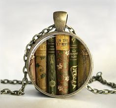 Library Book Necklace, Book Pendant,Book Jewelry,Gift for Teacher,Teacher Jewelry, Gift for Writer,Librarian,Book Lover,Bibliophile,Glass on Etsy, $14.25