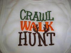 Crawl Walk Hunt Baby Hunting Bib- Perfect for Daddy's Little Hunter - Baby Boy Camo Hunting Bib