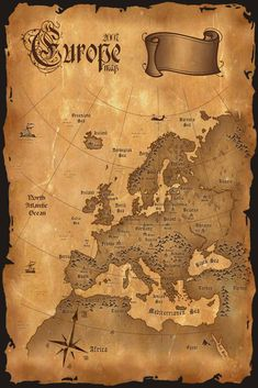 Vintage Europe Map Vertical Stock Illustration - Illustration of continental, antique: 9046464 Old World Maps, Old Maps, Vintage Maps, Antique Maps, Karten Tattoos, Pirate Maps, Map Tattoos, Map Wall Decor, Map Wallpaper
