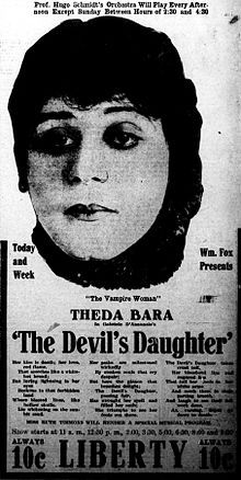 Newspaper ad for The devil's Daughter (1915) starring Theda Bara.