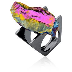 #ring #jewelry #fashion #accessories #crystal #bokd #customjewelry #statement #rhodium #raw #stone #modern #contemporary #unique #design #wearableart #urock #mariadolores #braziliandesigner #gioielli #anello #glam #art #multicolored #ionized #hologram #fingerparty #trendy #80's #eighties #jewelery #jewel #rockandroll #rockie #rocky #edgy #style