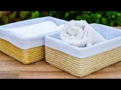 Cómo hacer una caja para el baño - El Cómo de las Cosas Diy Crafts How To Make, Easy Diy Crafts, Diy Projects To Try, Ikea Book Rack, Sisal, Cute Storage Boxes, Bathroom Baskets, Gift Box Design, Upcycled Home Decor