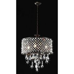 @Overstock - Add a classy touch to your home decor with this round crystal chandelier. This light fixture features an antique bronze finish with small, elegant crystal details.http://www.overstock.com/Home-Garden/Antique-Bronze-4-light-Round-Crystal-Chandelier/4737580/product.html?CID=214117 $205.19