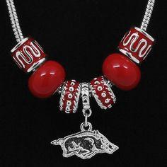 Arkansas Razorbacks Ladies Charm and Bead Necklace
