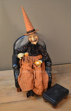 HALLOWEEN WITCH in Orange and Black sitting in antique chair, sipping tea from her Halloween china. © Rucus Studio 2013 / Place this unique little witch on the tea table with your floral. Retro Halloween, Star Wars Halloween, Halloween Doll, Holidays Halloween, Spooky Halloween, Halloween Crafts, Happy Halloween, Dracula, Scott Smith