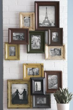 Creatively arrange your collection of photos and memorabilia with ease with just one hanging piece for the frames...