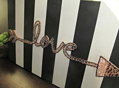 arrow string art love string art wood art nail by RoseMareeDesigns