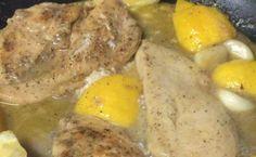 Lemon Garlic Crockpot Chicken - chicken breasts, minced onion,  lemons, garlic bulb, thyme, chicken broth/stock, salt & pepper