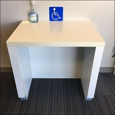Though flagged only with an icon, this Dedicated Handicapped Workspace In-Store was obviously reserved. Kind of the retailer to assign a distinct area King Of Prussia Mall, Store Fixtures, Grab Bars, Electrical Outlets, Compare And Contrast, Working Area, Office Desk, Home Decor, Desk Office