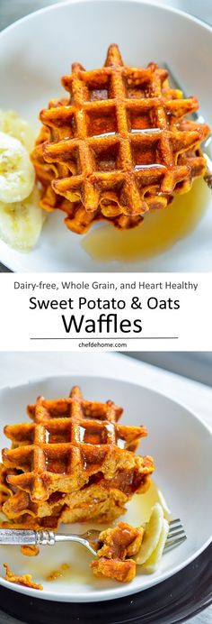 Healthy Sweet Potato Oats Waffles are great for healthy dairy-free Christmas Breakfast. Whole Grain Oats and scrumptious Sweet Potato meet unsweetened Almond Milk and a touch of honey in these dairy-free, healthy and heart healthy breakfast waffles. Breakfast Hotel, Breakfast Waffles, Pancakes And Waffles, Best Breakfast, Breakfast Casserole, Breakfast Ideas, Dairy Free Waffles, Vegan Breakfast, Vegan Pancakes