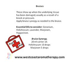Bruises happen before we know it. Here is a simple synergy to keep ready at hand for those times we need it!