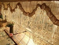 CUSTOM ANTIQUE Lace Valance BURLAP Curtain SHABBY Rustic Chic Cream-GORGEOUS 64"