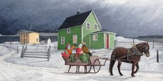 """""""Mummer's Sleigh Ride"""" by Dale Ryan Newfoundland Canada, Newfoundland And Labrador, Winter Painting, Winter Art, Saltbox Houses, Fabric Pictures, Holiday Places, Quilt Blocks, Quilt Patterns"""