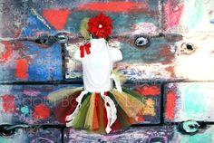 handmade tutu w necklace & poinsettia by AdoraBowsByLeilaHale