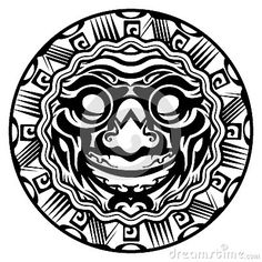 round-vector-smiling-face-polynesian-tattoo-isolated-white-background-43620296.jpg (400×400)