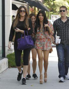 Kourtney Kardashian Wearing Floral Romper Rug Shopping with Khloe