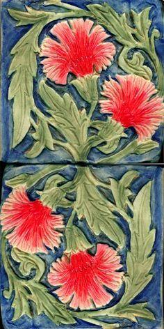 Carnation Tiles by B. Schmidt Arts inspired by a William De Morgan design… Azulejos Art Nouveau, Art Nouveau Tiles, Vitromosaico Ideas, Muebles Art Deco, Victorian Tiles, Victorian House, Unique Tile, Different Kinds Of Art, Art And Craft Design