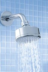 """CONFIRM THAT RUBBER IS GREY NOT GREEN  Shower head - Grohe New Tempesta Cosmopolitan 100 Shower head IV 27591 000 in polished chrome with Grohe 6 5/8"""" shower arm 27412 in chrome"""