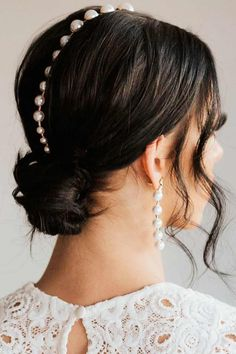 Accessorized With Pearls Messy Low Bun ❤ Don't believe that you can get a stunning hair bun for short hair? See how many cool updos you can create! Your short locks are not an obstacle. #hairbunforshorthair #lovehairstyles #hair #hairstyles #haircuts