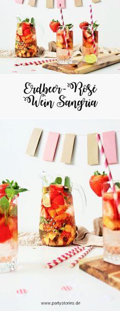 Sangria Rezept mal anders mit Roséwein, Erdbeeren, Aprikosen – auch als Bowle, für eine Party, den Geburtstag, den JGA, die Grillparty uvm. // So einfach eine leckere und fruchtige Sangria mit Erdbeeren mixen. // Rezept & Fotos von Partystories.de // #Erdbeerzeitfeiern #Erdbeeren #Erdbeerzeit #RezeptmitErdbeeren #Rezeptidee #Sommerrezept #Sangria #Sangriarezept #Sangriamalanders #Bowle #partystories #Sommersangria #Weinmalanders #Rosewein #roseallday #Sommerparty #Grillparty #JGA… Diy Party Dekoration, Tapas, Drinks, Cocktails, Grilling, Table Decorations, Pictures, Sangria Recipes, Diy Party Hats