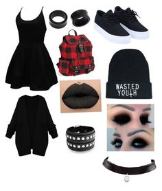 """""""F$$$ society be alternative emo goth punk scene"""" by theratchetdragon on Polyvore featuring WithChic, Aéropostale, Bling Jewelry and NOVICA"""