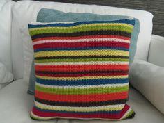 Bright strip crochet cushion