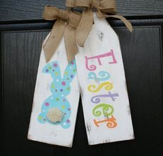 easter giant wooden door tags #woodcraftprojects