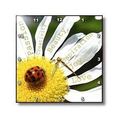 Gift Idea for Me!  Love it!  Inspirational Words Ladybug on a Daisy- Affirmations- Flowers - Wall Clocks