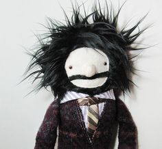 ok so i just love this guy, no reason to have him, but he's adorable - Physics professor stuffed fabric doll
