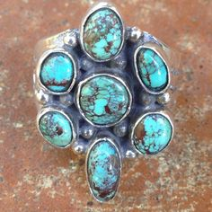Vintage Navajo Tom Willeto Turquoise Silver Ring Head of ring is 21x33mm, Shank is 20mm wide at Head, 6mm in back, 7 Bezel set Natural Turquoise Cabs with Brownish Matrix, 14g Vintage Tom Willeto Jewelry Rings