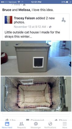 Make a homemade cat condo for outdoor or stray cats this is a DIY safe house for stray cats in winter. You can make a difference in a cats life. Feral Cat Shelter, Feral Cats, Cat Shelters, Feral Cat House, Diy Pour Chien, Outside Cat House, Niche Chat, Cat House Diy, Kitty House