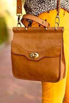 animal print blouse and messenger bag, love laurenmickelsen