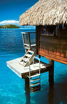 Hotel Maitai Polynesia Bora Bora overwater bungalow, look at that clear blue lagoon.