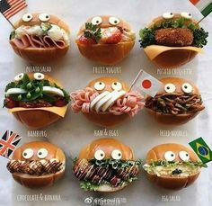 Cute hamburgers! Bento Recipes, Pureed Food Recipes, Baby Food Recipes, Cute Food, Good Food, Yummy Food, Japanese Sweets, Japanese Food, Japanese Sandwich
