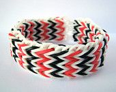 Glow in the Dark - Red, Black and White - Triple Fishtail Bracelet