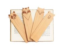 Wood Bookmarks // Laser Cut Alder Wood // Set of 4 // Zoo Mammals