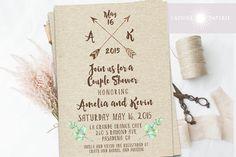 Rustic Couple Shower Invitation, Boho Bridal Shower, Arrow Invite, Bohemian, Kraft Shower Invite, Kraft Invitation, Watercolor,jadorepaperie